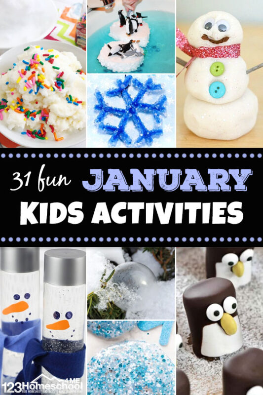 FUN January Activities for Kids - Just because it's cold outside doesn't mean you can't have fun on these dreary winter days with these clever and funJanuary activities for kids. We have lots of ways to play with these January activities perfect for toddler, preschool, pre-k, kindergarten, first grade, 2nd grade, and 3rd grade children. We've included lots of winter themed activities including indoor snow, snowflakes, penguins, snowmen, and more!