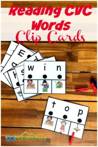 FREE Reading CVC Words - If you are looking for a fun way to help kids being Reading CVC Words, you will will love this free printable activity for kindergartners! #cvcwords #kindergarten #readingClip Cards