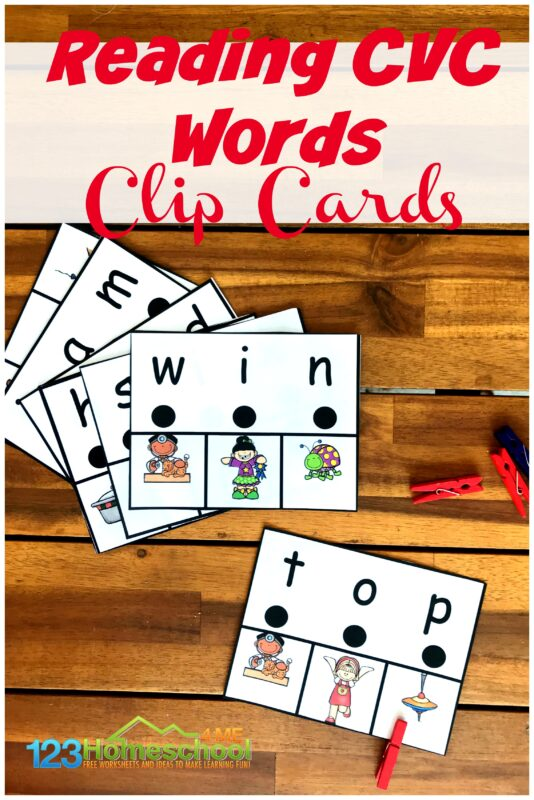 FREE Reading CVC Words Clip Cards - If you are looking for a fun way to help kids being Reading CVC Words, you will will love this free printable activity for kindergartners! #cvcwords #kindergarten #reading