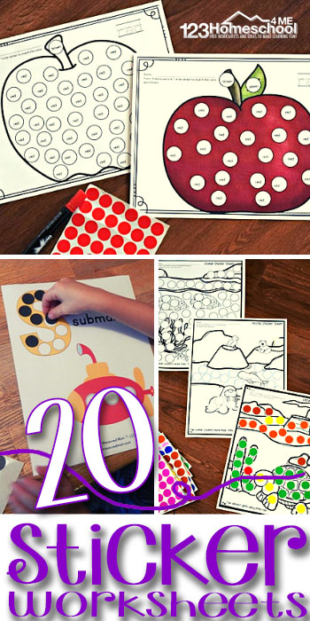 20 FREE STicker Worksheets for kids to practice math, alphabet letters, biomes, practice fine motor skils land pincer grasp and so much more with toddlers, preschoolers and kindergartners #preschool #kindergarten #freeworksheets