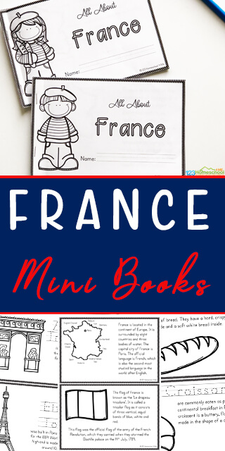 FREE France for Kids Printable Mini Book - this countries for kids printable is a great way to help kids learn about other countries, famous landmarks, geography, with information and french coloring pages #france #franceforkids #countriesforkids #geography #homeschool