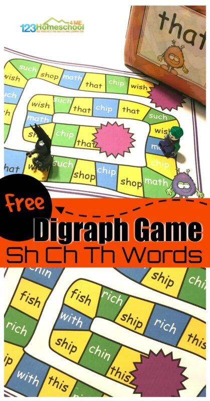 Help kids work on phonics skills and mastering Ch Sh Th sounds with these FREE printable Digraph Games for Kindergarten and first graders. Download pdf file, print, and play the low prep, sh ch th Gamesthat help kids learn to read!