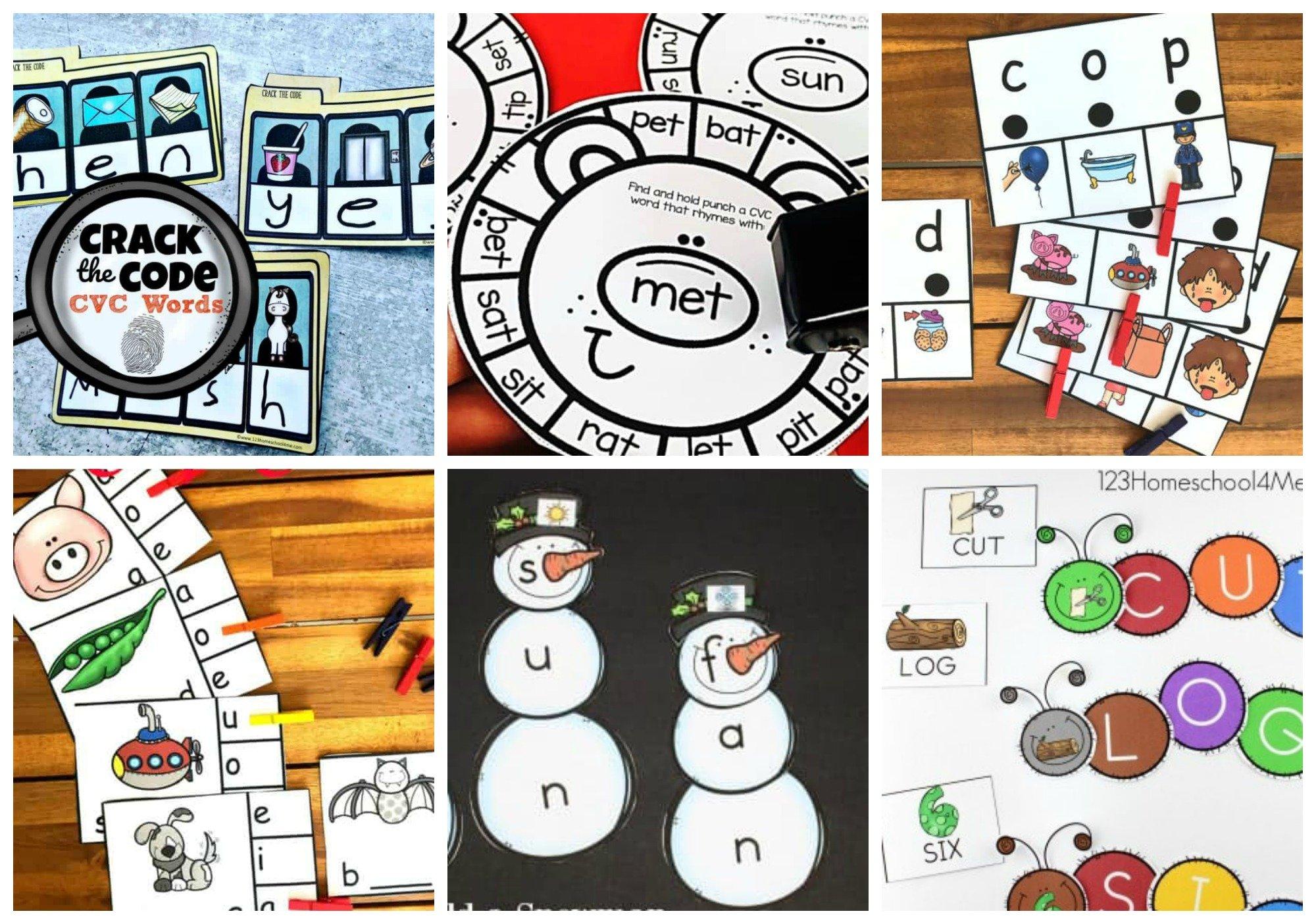 fun, hands-on cvc activities for preschoolers, kindergartners, and grade 1 children
