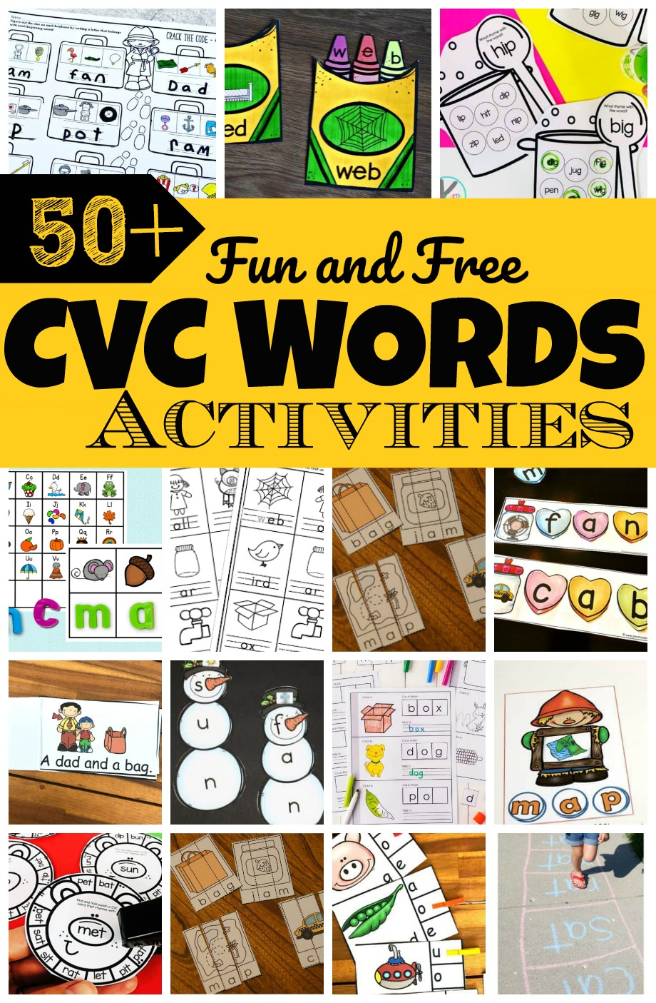 Help kids start reading with these fun and FREE cvc activities. Whether you're teaching preschool, pre k, kindergarten, or first graders, you're bound to be needing tons of ideas for teaching CVC words. We have lots of  creative, and free printable CVC Words Activities to keep kids engaged and having fun learning!  From cvc word games to free cvc worksheets, and cvc word activities to we have loads of cvc word practice ideas for making learningfun all year round!
