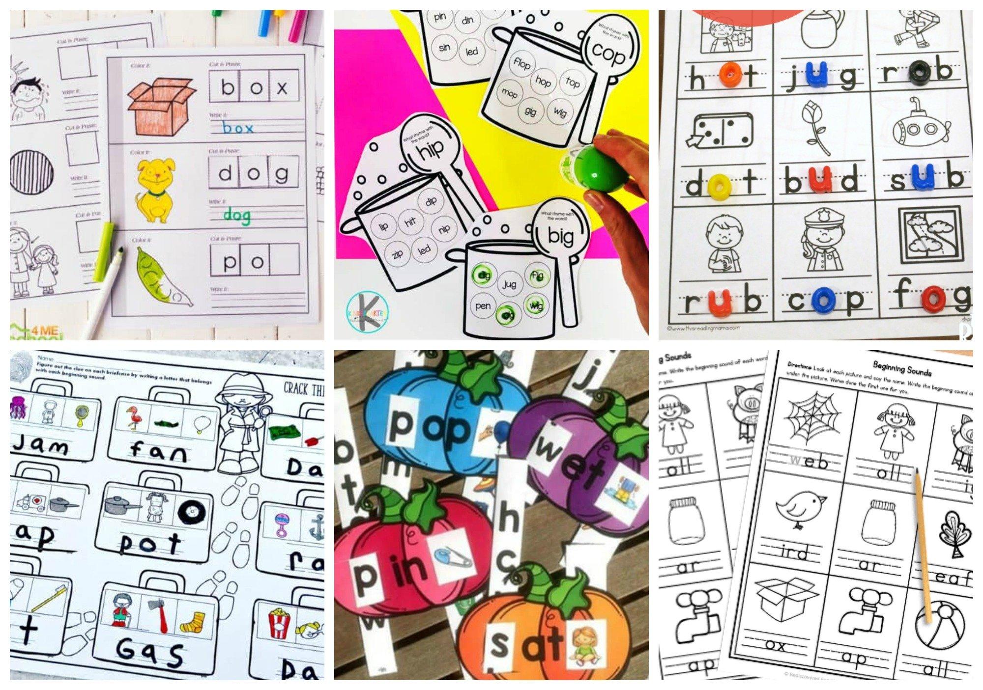 lots of fun free printable cvc worksheets for teaching preschool, pre-k, kindergarten, and first grade students