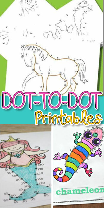 Kids will have learning a variety of skills from alphabet to math and more with these super cute, FREE Dot to Dot Printables for kids of all ages. #dottodot #dottodotprintables #freeprintables #education