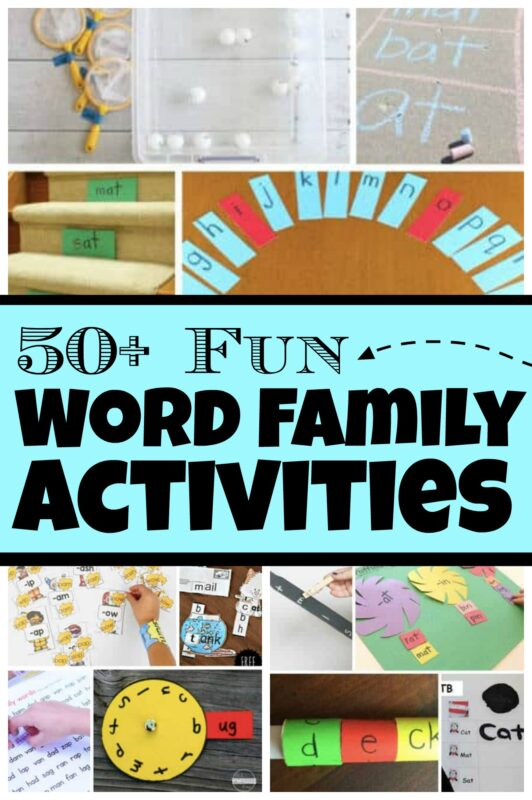 Help kids learn to read by exploring and playing with word families! These super cute, fun, engaging, and free word family activities are a great way for young children to start off with their literacy journey. These word families activities are perfect for preschool, pre-k, kindergarten, and first grade students! We have free printable word family games that are sure to get your child excited about learning!