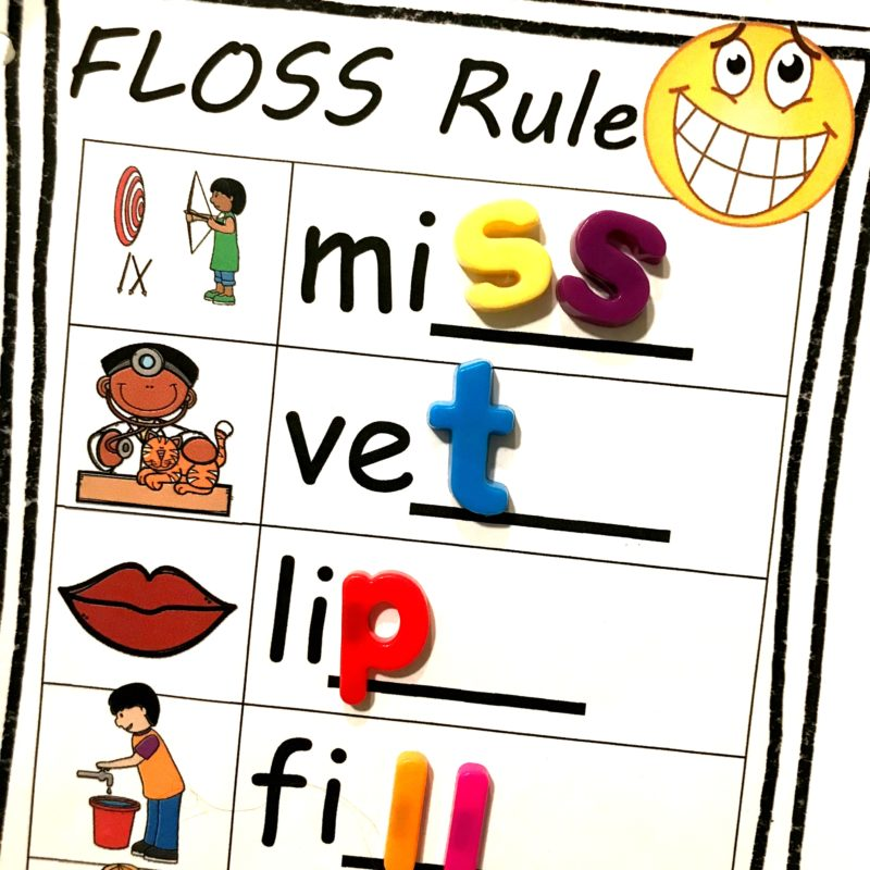 hands-on floss rule activity to teach first grade and 2nd grade students an important spelling rule