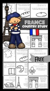 FREE France Printable Book - download the Franc country study to help students learn all about life in France, french landmarks like the Eiffel Tower, berets, arc de triumph and more! These have both france coloring pages of cute clipart and interesting facts about France for pre k, kindergarten, first grade, 2nd grade, 3rd grdae, 4th grade, 5th grade, and 6th grade students. Perfect for homeschooling or summer learning!
