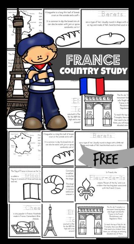 Kids will love learning about the European country of France, famous for the Eiffel Tower, Louvre, Mona Lisa, Arc de Triumph, crepes, croissants, berets, Palace of Versailles, artists, and Napoleon's tomb with these super cute, France Printables. These mini books printable help children learn about this culture, their way of life and their interests. This is such a fun way for kindergarten, first grade, 2nd grade, 3rd grade, 4th grade, 5th grade, and 6th grade students to learn about countries around the world.