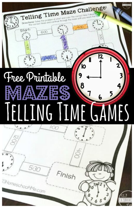 Make practicing telling the time on a clock FUN with these super cute, telling time games printable. These telling time printable games are perfect for kindergarten, first grade, and 2nd grade students who are learning to tell time to the half hour and on the hour. This free math game turns telling time worksheets into a hands-on educational activity kids will enjoy. Simply download pdf file with free printable telling time games and you are ready to play and learn.