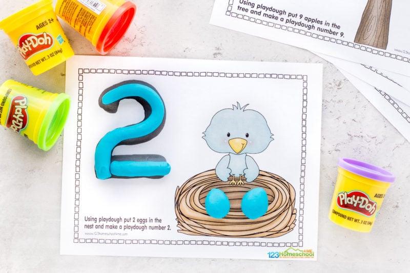 Free playdough number mats