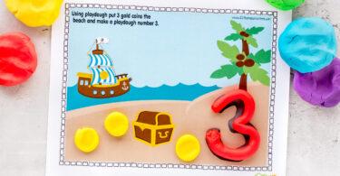 Number playdough mats free