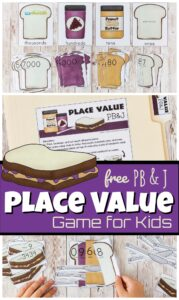 Build a Peanut Butter & Jelly Sandwich as you practice ones, tens, hundreds, and thousands place value in this super cute, free printable Place Value Games. This place value math games is a great way for first grade, 2nd grade, 3rd grade, 4th grade, and 5th grade students to grasp the concept of place value. Simply download pdf file withplace value game printable and you are ready to have fun with this place value activities!