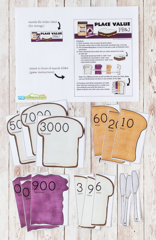 Place value game printable