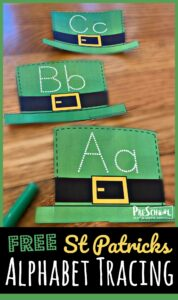 st patricks day alphabet tracing