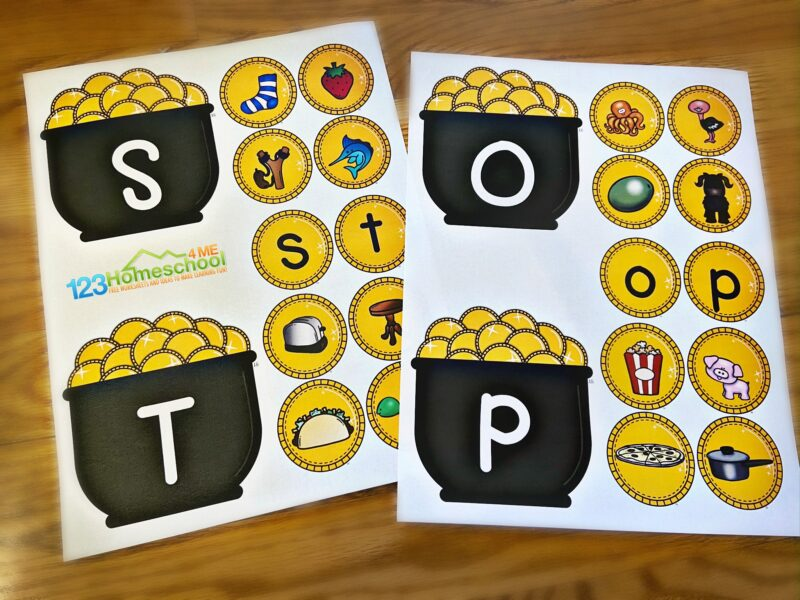 fun, free st patricks day game for kindergarten, prek, first graders to practice phonics and alphabet letters during march