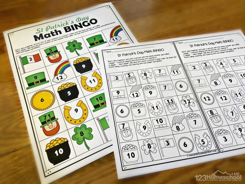 fun, free printable st patricks day math game to help kindergarten and first graders practice addition in march