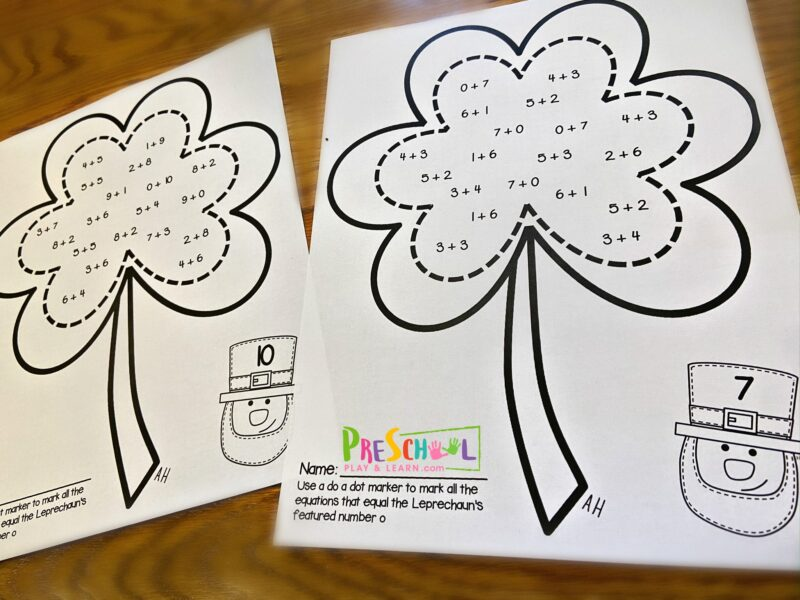 additoin worksheets to help kindergarten and first graders practice math in March with a fun St Patricks day themed activity