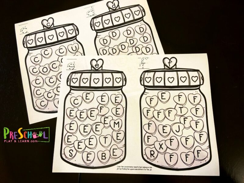 FREE Find The Letter Valentine's Day Worksheets