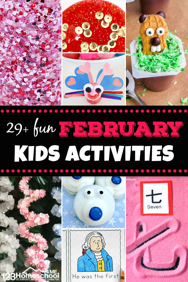 Get ready for an EPIC month with these clever, fun, and unique February Activities for Kids. These february activities are pefect for kids of all ages from toddler, preschool, pre-k, kindergarten, first grade, 2nd grade, and 3rd grade students. We've included february activities for school age from Valentines Day activities, Groundhog Day activities, winter theme activities, presidents day activities, polar bear activites, and so many more!
