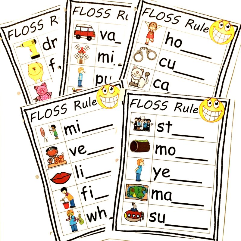 learn the floss rule word with this free spelling printable for students