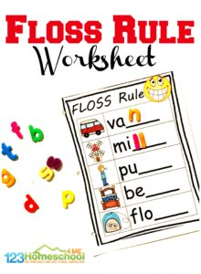 FREE Floss Rule Worksheets - several pages to teach an important spelling rule about doubling consonants. Fun, hands on spelling activty for grade 1 and grade 2 students #homeschool #firstgrade #2ndgrade #flossrule