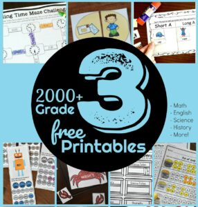 over 3000 pages of free third grade printables to help students in grade 3 practice math, English, grammar, history, science experiments, and more