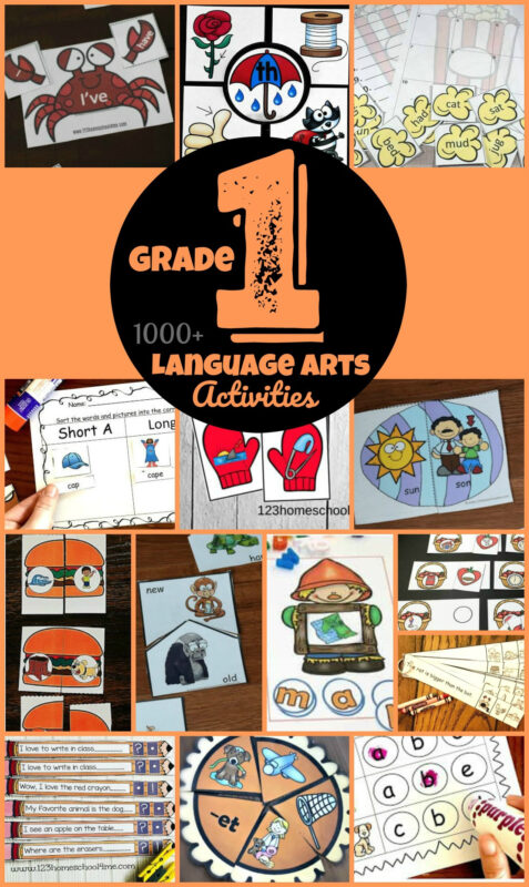 1000+ FREE printables for 1st Grade! Tons of fun, hands on games and English worksheets for grade 1. Teach kids blends, digraphs, rhyming,a ntonyms, cvc words, sight words, long vowels, short vowels, speling words, phonics, and other skills to improve literacy and reading fluency with first graders. Perfect for parents, homeschoolers, and teachers #grade1 #firstgrade #1stgrade #grade1english #education