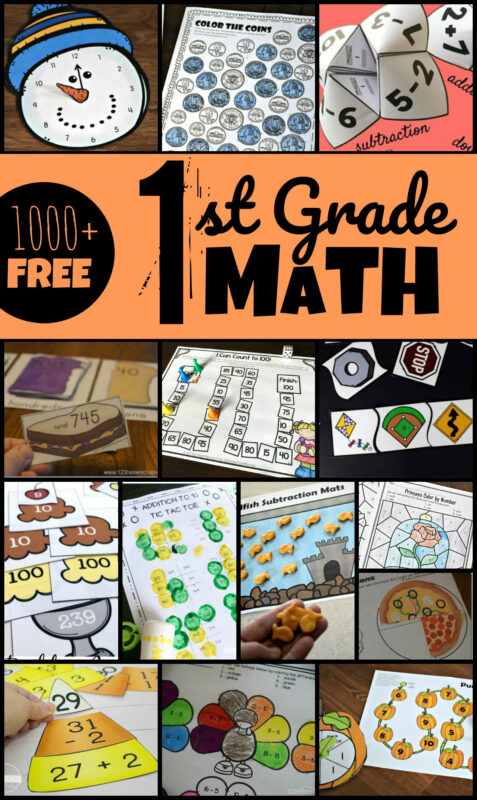 Over 1000+ fun math games and first grade math worksheets to make practicing grade 1 math FUN! Includes telling time, counting money, fractions, place values, addition, subtraction, skip counting, shapes, and more for parents and homeschoolders. #firstgrademath #1stgrademath #grade1math
