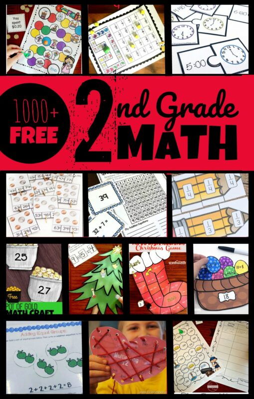 FREE 2nd Grade math worksheets & math games! - help second graders practice addition, subtraction, telling time, counting money, fractions, word problems, and so much more with these free printables for grade 2 #3ndgrademath #secondgrademath #grade2math #homeschooling