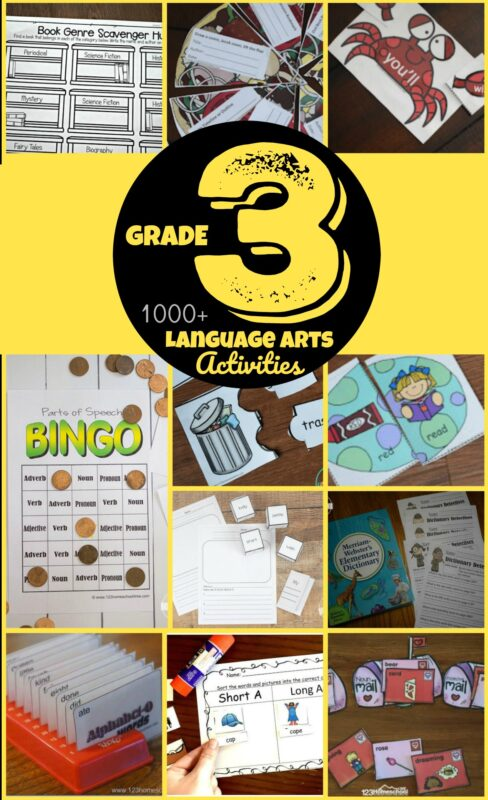 2000+ Grade 3 English Printables - help 3rd graders practice grammar and other language arts skills like parts of speach, creative writing, spelling words, cvc words, sight words, using a dictionary, alphabetical order, contractions, using a library, book reports, and more with these 3rd grade worksheets, games and activities #3rdgrade #grade3 #homeschool