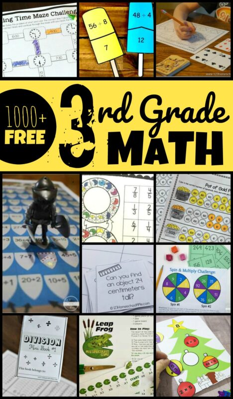1000+ FREE 3rd Grade Math - kids will have fun practicing grade 3 math with these 3rd grade math worksheets and 3rd grade math games to practice multiplication, division, fractions, measurement, telling time, problem solving, and more while having fun! #3rdgrade #grade3 #homeschool