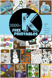 TONS of free kindergarten printables to help kids practice math, literacy, alphabet letters, language arts, science, history, and more. Includes no prep kindergarten worksheets, kindergarten games, and tons of hands on kindergarten activities to make learning fun!