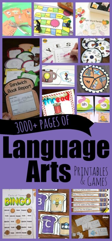 3000+ pages of language arts worksheet and english grammar games to help elementary age kids to practice parts of speach, sigh words, word families, cvc words, digraphs, homonym, book report templates, blends, beginning sounds, phonics, syllables, spelling practie, sentences, punctuation and more with kindergartners first grade, 2nd grade, 3rd grade, 4th grde, 5th grade, and 6th grade students. Perfect for practiing in a classroom, or at home with parents and teachers. So many fun educational, hands on activities