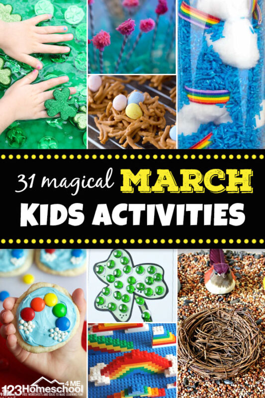 Get ready for an EPIC month with these March Activities For Kids including: St Patricks Day, Easter, Rainbows, Birds, Dr Seuss, and more for all ages.