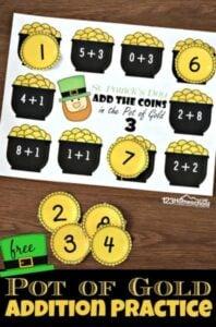 pot of gold st patricks day math printables