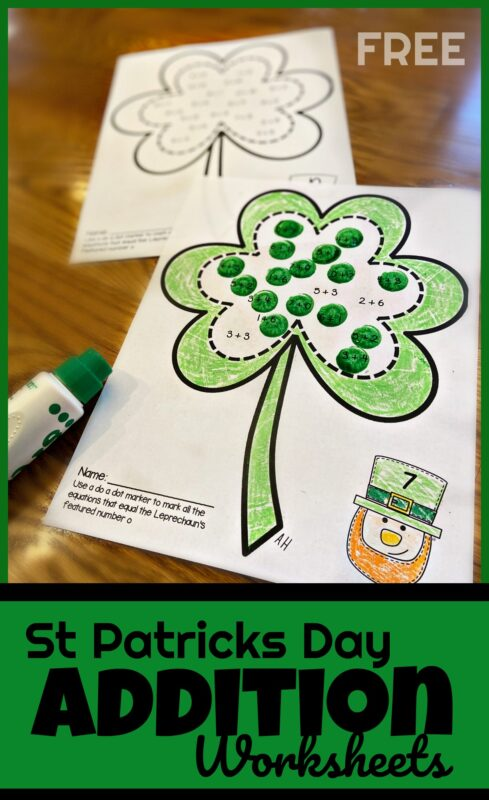 Make practicing addition fun with these super cute, st patricks day math worksheets. Thesest patrick's day worksheets are a clever way for children to practice with sums to 10 with bingo daubers. This st patricks day activities is perfect for kindergarten and first graders. Simply download pdf file with St patrick's day printables and you are ready to play and learn!