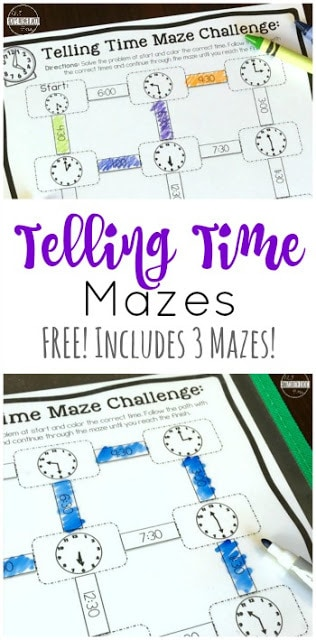 FREE Telling Time Mazes - this is such a fun, free printable math game to help kindergarten, first grade, and 2nd grade students practice using a clock. They are telling time worksheets with a twist - it is a maze and a fun telling time clock game to finish!