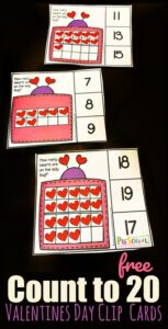 count to 20 valentine math clip cards