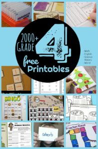 FREE 4th Grade Worksheets - lots of fun worksheets, games, and activities for grade 4 students to practice math, english language arts, science, history, reading, and more #grade4 #homeschool #4thgrade