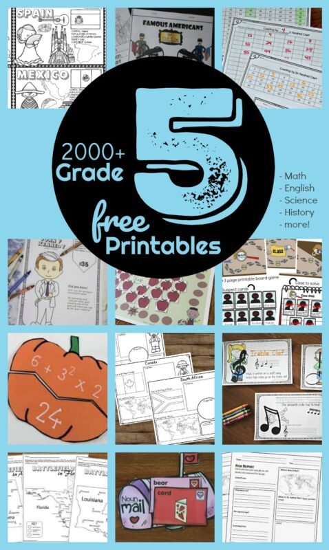 FREE 5th Grade Worksheets - over 2000+ pages of free printable math games, 5th grade math worksheets, grammar printables, english worksheets, science experiments, geography printables, history printables and activities, music worksheets, and more #5thgrade #grade5 #homeschooling