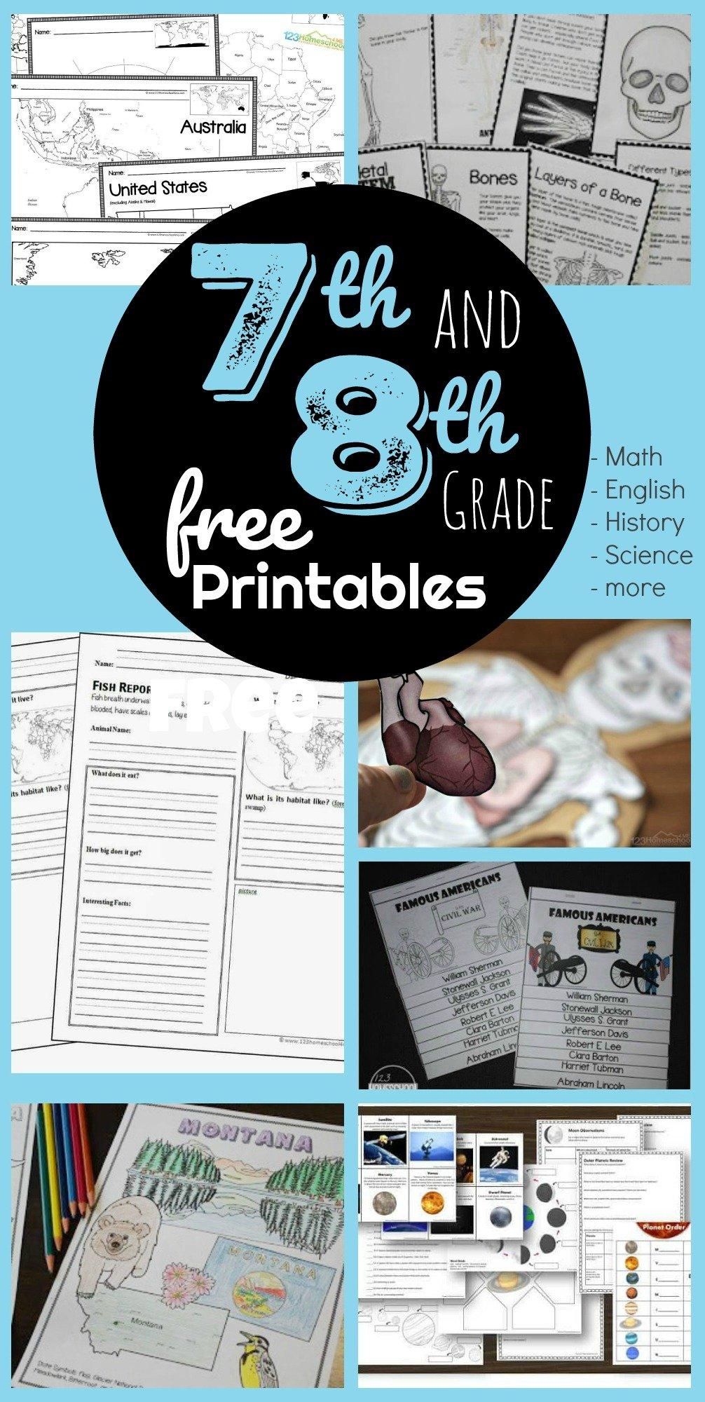 Free 7th 8th Grade Worksheets [ 2000 x 1006 Pixel ]