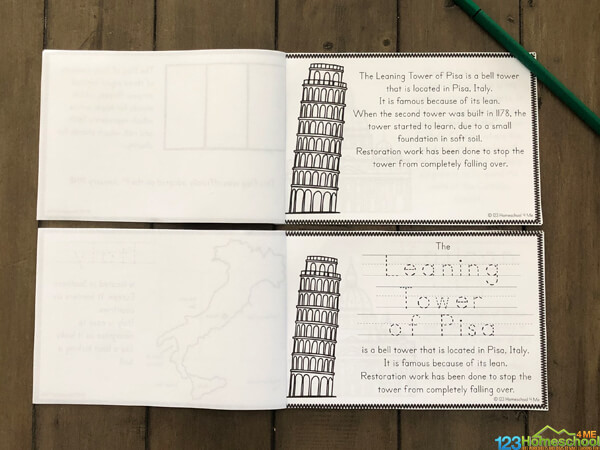 teach About Italy for Kids with this hand, free worksheets that turn into a mini book for teachers, parents, and homeschoolers