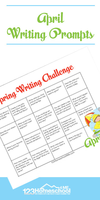 Kids will have fun writing this spring with these free printable, April Writing Prompts. These spring writing promtps are in a convenient printable calendar to encourage kindergarten, first grade, 2nd grade, 3rd grade, and 4th grade students to keep writing during springtime. Simply download pdf file with writing promtps for spring and you are ready to play and learn!
