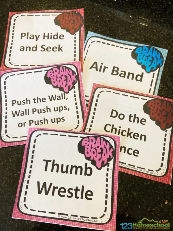 super cute and free printable brain breaks for kids at home