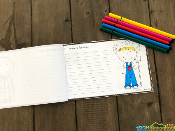 Community Helpers Kindergarten; free printable with farmer to color and lines to write information about this community helper