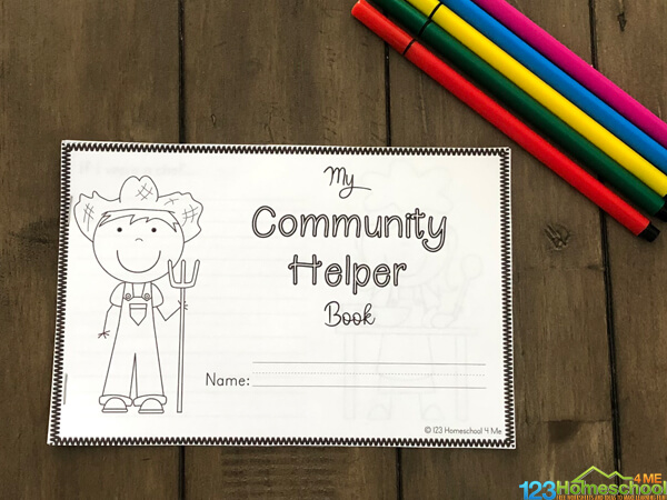 Community Workers Book for kids to color, fill in and learn for preschool, pre k, kindergarten, grade 1