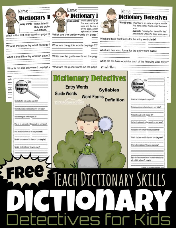 Dictionary Detective Worksheets for Kids - fun printable teaching dictionary skills to grade 3, grade 4, and grade 5 students #dictionaryskills #dictionariesforkids #3rdgrade #4thgrade #homeschooling