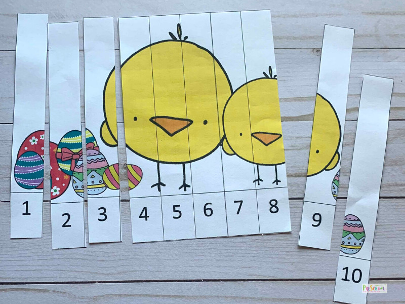 FREE Preschool Counting Puzzles Easter Printables Activity